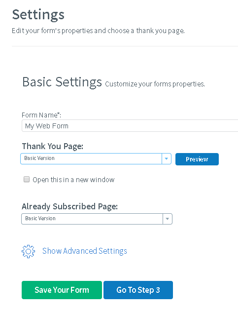 how to create a landing page with aweber settings